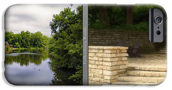 Nature Center Pond iPhone Cases - Nature Center 02 Flagstone Patio Fullersburg Woods 2 Panel iPhone Case by Thomas Woolworth