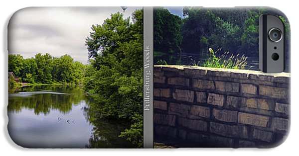 Nature Center Pond iPhone Cases - Nature Center 02 Flagstone Wall Fullersburg Woods 2 Panel iPhone Case by Thomas Woolworth
