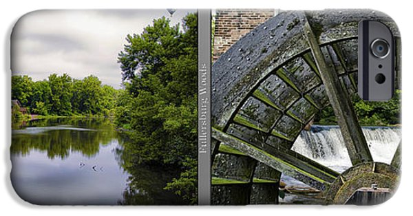 Nature Center Pond iPhone Cases - Nature Center 02 Grist Mill Wheel Fullersburg Woods 2 Panel iPhone Case by Thomas Woolworth