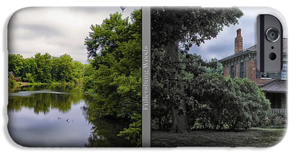 Nature Center Pond iPhone Cases - Nature Center 02 Italianate House Fullersburg Woods 2 Panel iPhone Case by Thomas Woolworth