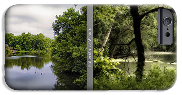 Nature Center Pond iPhone Cases - Nature Center 02 Tree Silhouette Fullersburg Woods 2 Panel iPhone Case by Thomas Woolworth