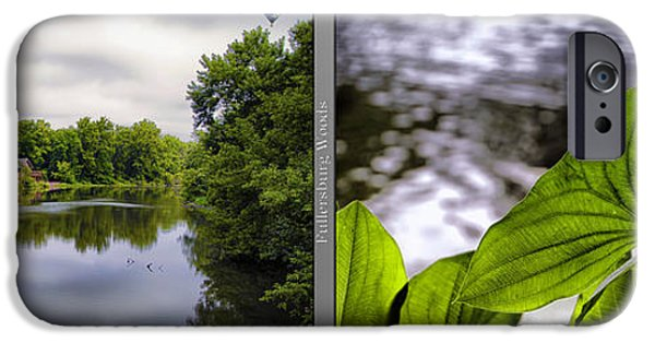 Nature Center Pond iPhone Cases - Nature Center 02 Water Leaf Fullersburg Woods 2 Panel iPhone Case by Thomas Woolworth