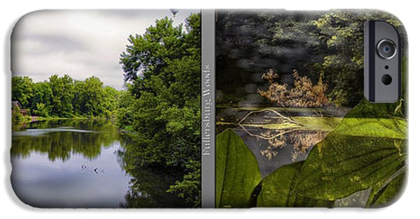 Nature Center Pond iPhone Cases - Nature Center 02 Water Plant Bird Merge Fullersburg Woods 2 Panel iPhone Case by Thomas Woolworth