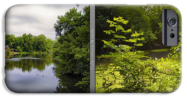 Nature Center Pond iPhone Cases - Nature Center 02 With Bridge Fullersburg Woods 2 Panel iPhone Case by Thomas Woolworth