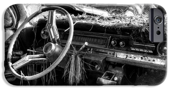 Take Over iPhone Cases - Nature Takes Over A Cadillac in Black and White iPhone Case by Greg Mimbs