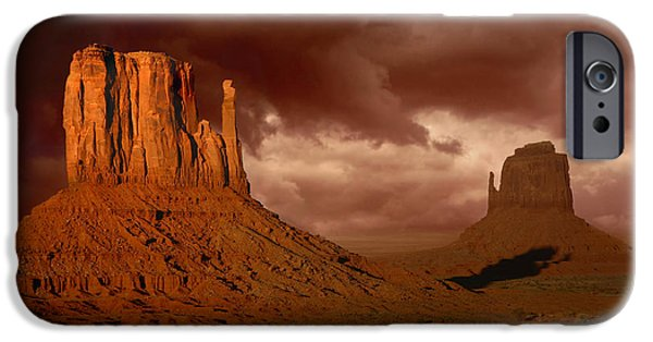 Surrealism Pyrography iPhone Cases - Natures Fury in Monument Valley Arizona iPhone Case by Katrina Brown
