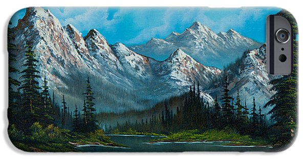 Bob Ross Paintings iPhone Cases - Natures Grandeur iPhone Case by C Steele