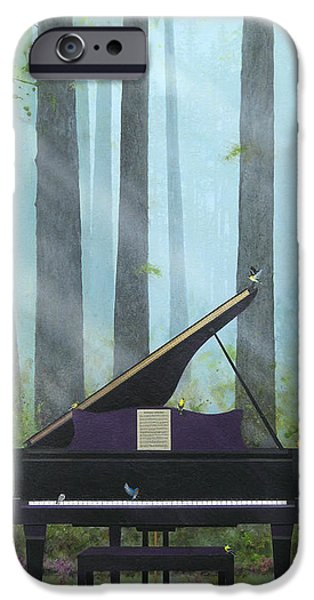 Grand Piano Paintings iPhone Cases - Natures Harmony iPhone Case by Tom Owen