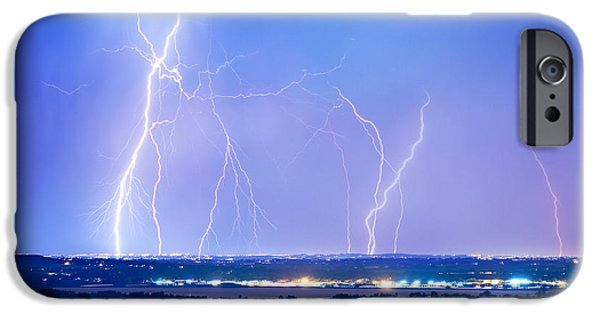 The Lightning Man iPhone Cases - Natures Light Show Over The Boulder Reservoir  iPhone Case by James BO  Insogna
