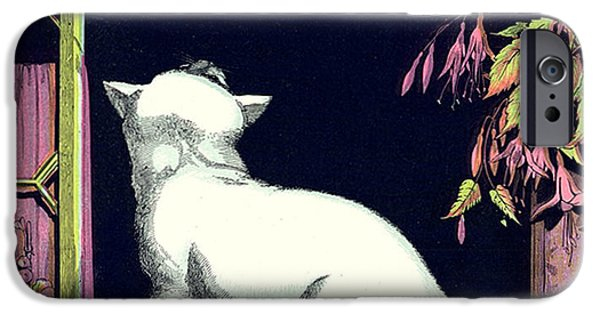 Bobcat And Kittens iPhone Cases - Naughty Cat Eyes a Yellow Bird in Cage iPhone Case by Pierpont Bay Archives