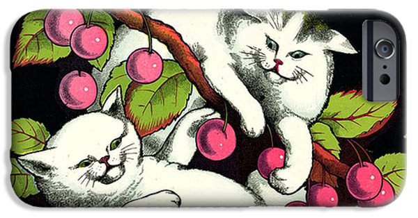 Bobcat And Kittens iPhone Cases - Naughty Cats play with Cherries  iPhone Case by Pierpont Bay Archives