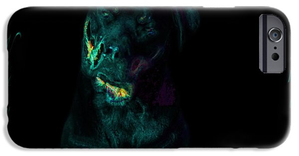 Chocolate Lab Digital Art iPhone Cases - Naughty Rottie iPhone Case by Mayhem Mediums