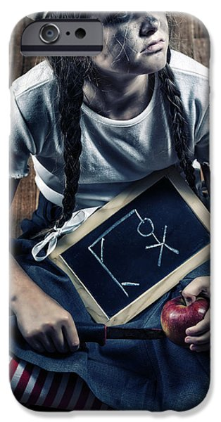 Hangman iPhone Cases - Naughty School Girl iPhone Case by Joana Kruse