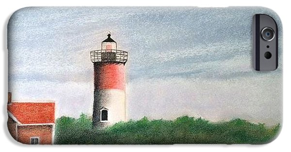 Cape Cod Pastels iPhone Cases - Nauset Light iPhone Case by Rose Cantlin