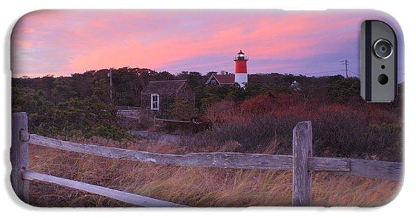 Massachusetts Coast iPhone Cases - Nauset Lighthouse November Sunset iPhone Case by John Burk