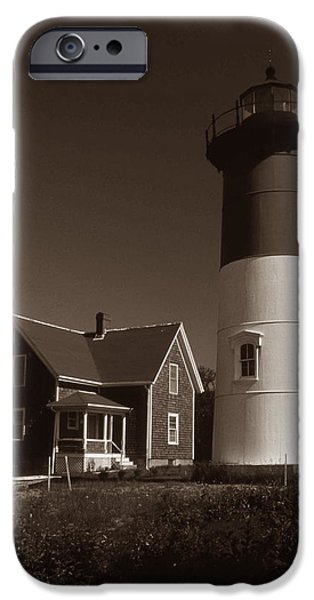NAUSET LIGHTHOUSE iPhone Case by Skip Willits