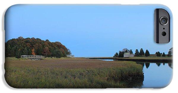 Cape Cod National Seashore iPhone Cases - Nauset Marsh Autumn Moon iPhone Case by John Burk