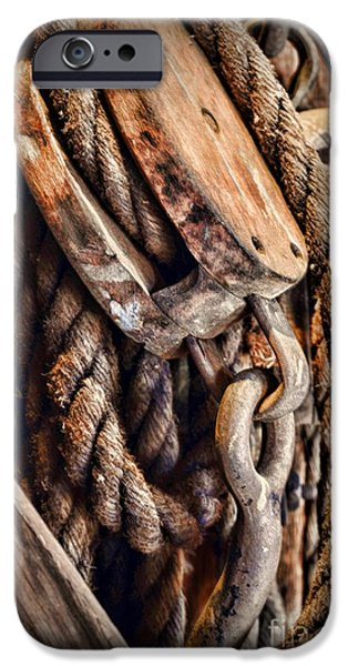 Wood Grain iPhone Cases - Nautical - Boat - Block and Tackle with Rope iPhone Case by Paul Ward