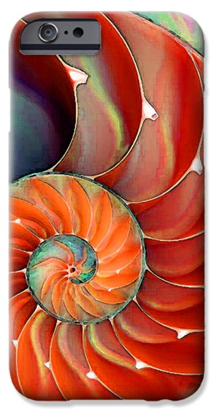 Greens iPhone Cases - Nautilus Shell - Natures Perfection iPhone Case by Sharon Cummings