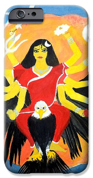 Parvati Paintings iPhone Cases - Nava Durga ChandraGhanta iPhone Case by Pratyasha Nithin