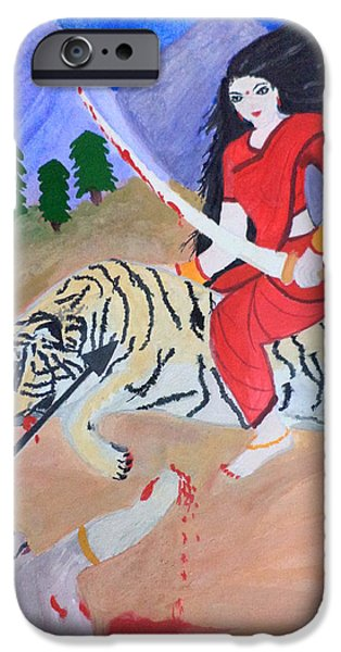 Parvati Paintings iPhone Cases - Nava Durga Kaatyayani iPhone Case by Pratyasha Nithin