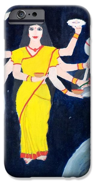 Hindu Goddess Paintings iPhone Cases - Nava Durga Kusmaanda iPhone Case by Pratyasha Nithin