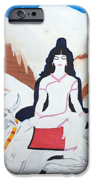 Parvati Paintings iPhone Cases - Nava Durga MahaGauri iPhone Case by Pratyasha Nithin