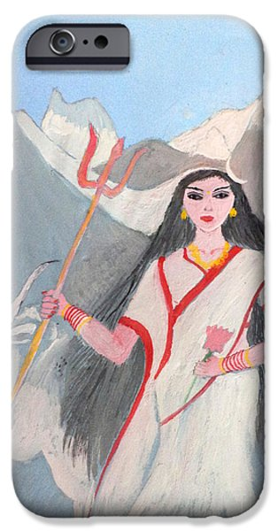 Parvati Paintings iPhone Cases - Nava Durga Shailputri iPhone Case by Pratyasha Nithin