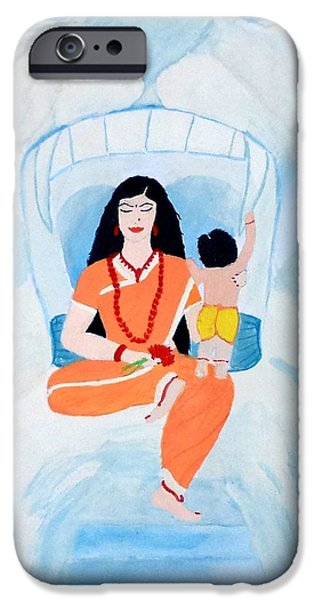 Parvati Paintings iPhone Cases - Nava Durga Skandmata iPhone Case by Pratyasha Nithin