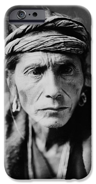 Portrait Of Old Man iPhone Cases - Navajo man circa 1905 iPhone Case by Aged Pixel