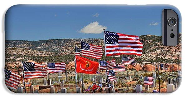 Headstones iPhone Cases - Navajo Veterans Memorial Cemetery Tsehootsooi iPhone Case by Christine Till