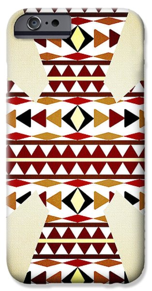 Fabric Mixed Media iPhone Cases - Navajo White Pattern Aged iPhone Case by Christina Rollo