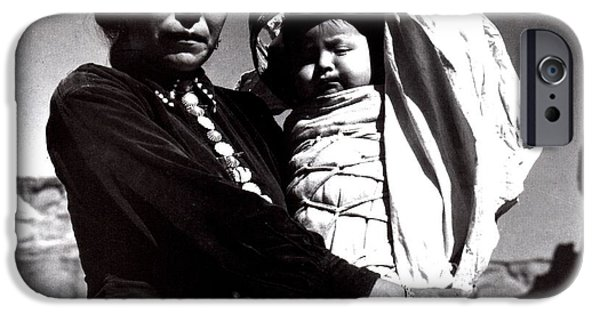 Chelly iPhone Cases - Navajo Woman With Infant iPhone Case by Ansel Adams