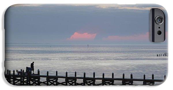 Beach Landscape iPhone Cases - Navarre Beach Sunset Pier 15 iPhone Case by Michelle Powell