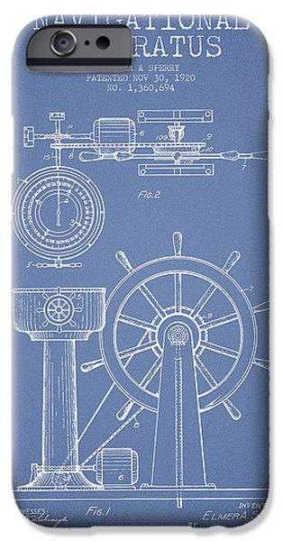 Navigation Digital iPhone Cases - Navigational Apparatus Patent Drawing From 1920 - Light Blue iPhone Case by Aged Pixel