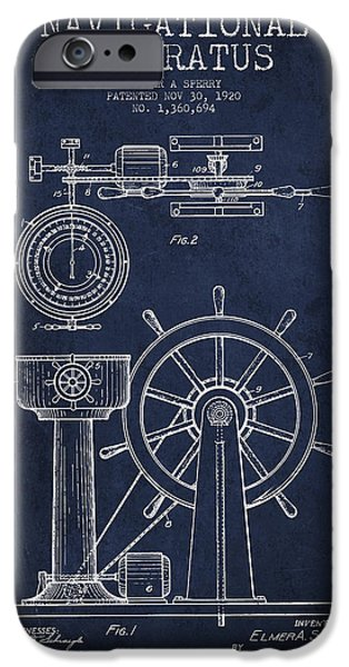 Navigation Digital iPhone Cases - Navigational Apparatus Patent Drawing From 1920 - Navy Blue iPhone Case by Aged Pixel