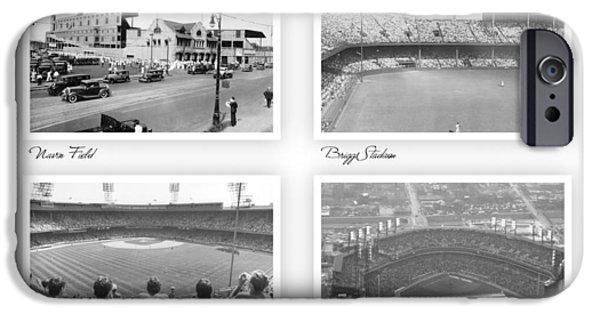 Detroit Tigers Baseball Art iPhone Cases - Navin Field Briggs Tiger Stadium Comerica Park iPhone Case by John Farr