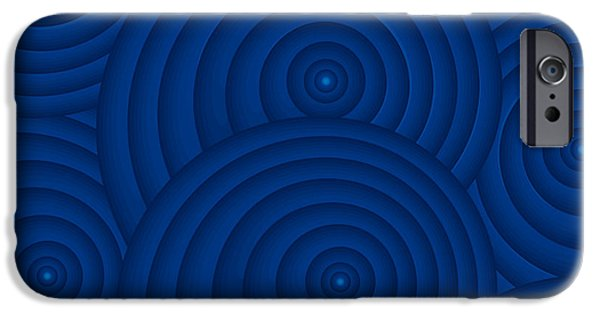 Deep Blue iPhone Cases - Navy Blue Abstract iPhone Case by Frank Tschakert