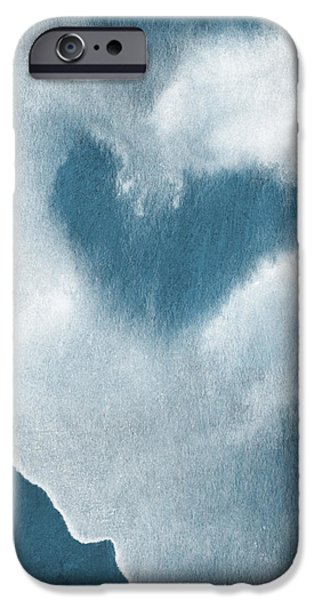 Navy Blue and White Love iPhone Case by Linda Woods
