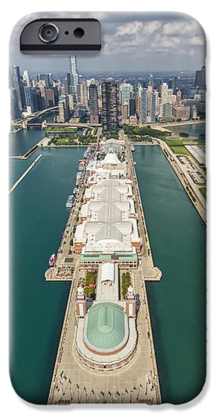 Willis Tower iPhone Cases - Navy Pier Chicago Aerial iPhone Case by Adam Romanowicz