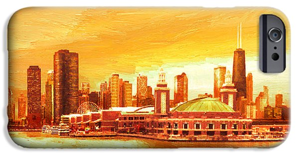 Chicago iPhone Cases - Navy Pier Chicago --Autumn iPhone Case by Doug Kreuger