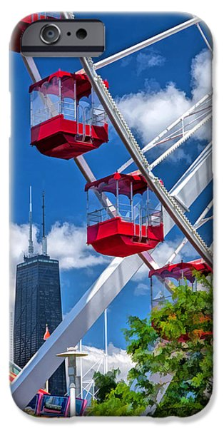 Sears Tower Paintings iPhone Cases - Navy Pier Ferris Wheel iPhone Case by Christopher Arndt