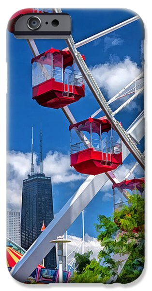 Grant Park Paintings iPhone Cases - Navy Pier Ferris Wheel iPhone Case by Christopher Arndt