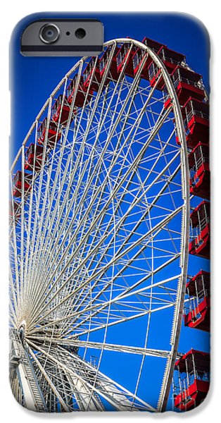Amusements iPhone Cases - Navy Pier Ferris Wheel in Chicago iPhone Case by Paul Velgos