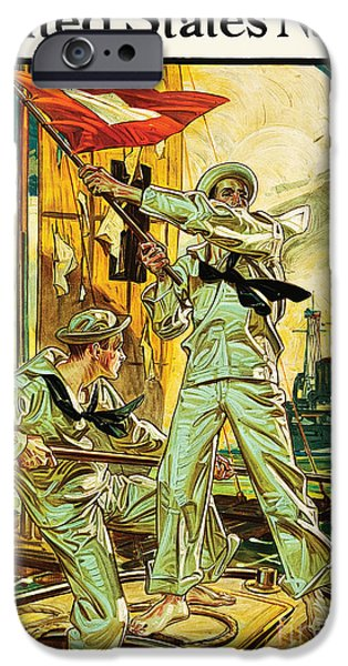 World War One Digital Art iPhone Cases - Navy Recruiting 1910 iPhone Case by The Realm  Endless