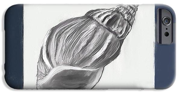Seashell Art iPhone Cases - Navy Seashells I-Navy and Gray Art iPhone Case by Lourry Legarde