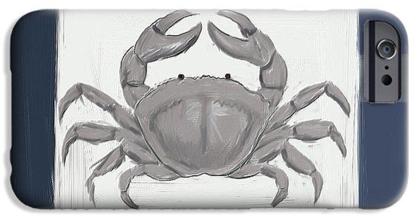 Seashell Art iPhone Cases - Navy Seashells IV - Navy and Gray Art iPhone Case by Lourry Legarde