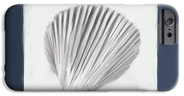 Seashell Art iPhone Cases - Navy Seashells V - Navy and Gray Art iPhone Case by Lourry Legarde