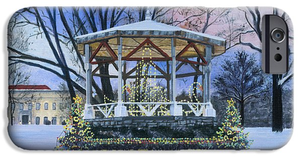 Park Scene Paintings iPhone Cases - Nay Aug Park Holiday Lights iPhone Case by Austin Burke