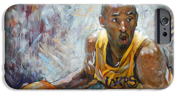Kobe iPhone Cases - NBA Lakers Kobe Black Mamba iPhone Case by Ylli Haruni